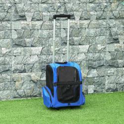 PawHut Transportadora para Animais de Estimação 2 em 1 Mochila de Viagem com 2 Rodas para Cães Gatos com Alça Retrátil de Alumínio e Bolso de Armazenamento 42x25x55cm Azul