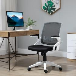 Vinsetto Cadeira de Escritório Ergonômica Basculante com Altura Ajustável Apoio para o Braço Dobrável Suporte Lombar e Malha Transpirável 61x61x94-104cm Preto