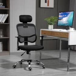 Vinsetto Cadeira de Escritório Giratória Ergonômica com Altura Ajustável Função de Inclinação Apoio para a Cabeça e Suporte Lombar 63x62x109-117cm Preto