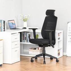 Vinsetto Cadeira de Escritório Giratória Reclinável com Altura Ajustável Apoio para a Cabeça Apoio para os Braços Reguláveis e Suporte Lombar 67x64x118-126cm Preto