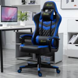 Vinsetto Cadeira ergonômica gaming de escritório Altura ajustável Reclinável Rotativo azul