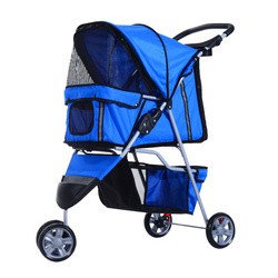 Carrinho Dobrável para animais de Estimação Cão ou Gato Carrinho com Rodas 360º - cor Azul - 75x45x97 cm