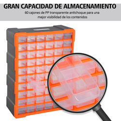 DURHAND Gabinete Organizador Ferramenta 60 gavetas tipo Prateleira DIY Gabinete Gaveta Caixa de Ferramentas 38x16x47.5 cm PP