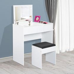 HomCom® Comoda com Banquinho Espelho Tampa Dobrável Mesa para Maquilhagem 3 Caixas e 1 Gaveta Branca