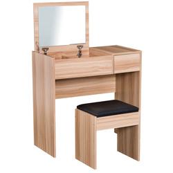 HomCom® Comoda com Banquinho Espelho Tampa Dobrável Mesa para Maquilhagem 3 Caixas e 1 Gaveta