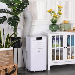 HOMCOM Ar condicionador portátil 4 em 1 ventilador refrigerador desumidificador 2 velocidades com tela LED com controle remoto silencioso 900W 38x35x70,5 cm Branco