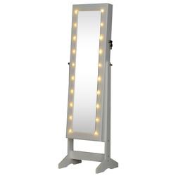 HOMCOM Armário para Joias 20 Luzes de LED Reclinável Fechadura Madeira 40x37x146cm Branco