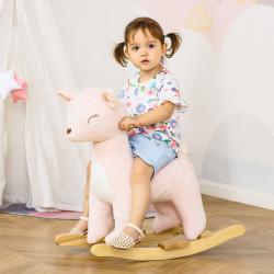 HOMCOM Baloiço Infantil de Cervo para Crianças acima de 3 Anos Baloiço com Sons Realistas de Pelúcia e Base de Madeira Carga 45kg 68x35,5x64cm Rosa