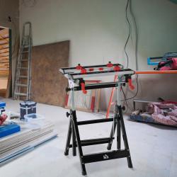 HOMCOM Bancada de trabalho dobrável de altura ajustável placas ajustáveis em largura e distância carga 100 kg 55x50x78,5-108 cm preto e prata