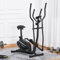 HOMCOM Bicicleta elíptica de fitness com Resistência Magnética Ajustável Tela LCD Sela Ajustável Monitor de Frequência Cardíaca e Volante 3 kg 103x62x151 cm Preto