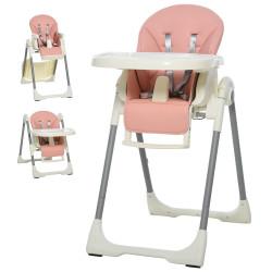 HOMCOM Cadeira de refeição ajustável e dobrável para bebê acima de 6 meses com bandeja dupla 55x80x104 cm Rosa