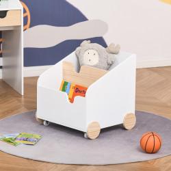 HOMCOM Caixa de Armazenamento de Brinquedos de 2 Seções com Rodas Puxador Carrinho de Madeira Infantil 40x43x43cm Branco e Madeira Natural