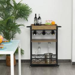 HOMCOM Carrinho de cozinha multifuncional com 3 prateleiras 77x44,5x91 cm Madeira rústica