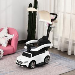 HOMCOM Carrinho para crianças acima de 1 ano Design 3 em 1 com buzina e capuz 84x40x83 cor branco