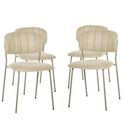 HOMCOM Conjunto de 4 Cadeiras de Sala de Jantar Empilháveis com Pés de Metal Estilo Moderno Nórdico para Cozinha Bar Restaurante Carga Máx. 100kg 49,5x55x81cm Bege