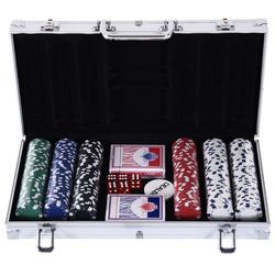 HOMCOM Conjunto de Fichas de Poker com Caixa de Alumínio
