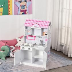 HOMCOM Cozinha infantil multifuncional 2 em 1 Casa de boneca para Crianças acima de 3 anos 60x 48x 106cm rosa