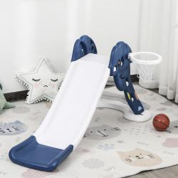 HOMCOM Escorrega infantil para crianças de 2 anos com cesta de basquete Carga 25 kg 160x35x68 cm azul e branco