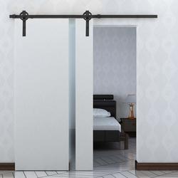 HOMCOM Kit de acessórios para porta de celeiro deslizante Porta de montagem Trilhos de aço carbono de conjunto de peças de metal
