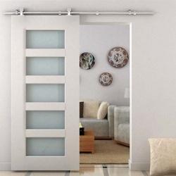 Homcom Kit para porta deslizante de madeira em trilho de aço inoxidável - 2,5x200cm