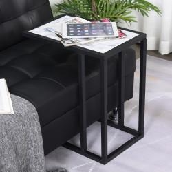 HOMCOM Mesa Auxiliar Lateral para sofá Imitação de mármore economizar espaço 45x30x51,5cm