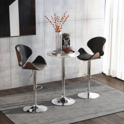 HOMCOM Mesa de bar ajustável em altura com base redonda e antideslizante para cozinha sala de jantar Ø60x69-93 cm Branco