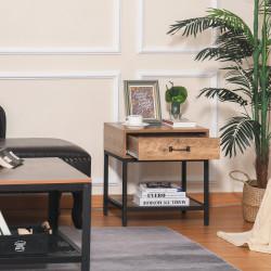 HOMCOM Mesa de cabeceira Mesa lateral com gaveta e prateleira Estilo industrial para quarto sala 48x40x51,5 cm Preto e madeira