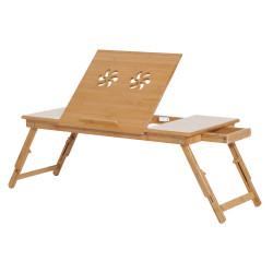 HOMCOM Mesa de computador portátil Bandeja de cama de bambu Dobrável Reclinável Altura Ajustável Apoio Mesa colo 1 Gaveta 72x35x22-30 cm