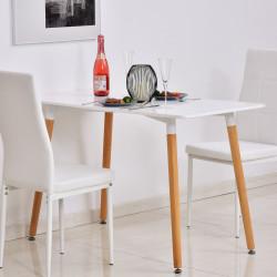 HOMCOM Mesa de jantar estilo nórdico com pernas de madeira 120x60x75 cm branco
