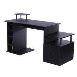 HomCom Mesa para Computador Secretária para Escritório– Cor: Preto- Madeira MDF - 152 x 60 x 88 cm
