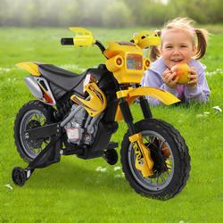 HomCom Mota Elétrica Infantil com Bateria de Rodinhas de Apoio- Cor: Amarelo- Material PP- 102 x 53 x 66 cm