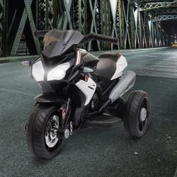 HOMCOM Motocicleta Elétrica Infantil com 3 Rodas Triciclo para Crianças acima de 3 anos com Bateria 6V Recarregável Funções de Música Buzina Faróis 86x42x52cm Preto e Branco