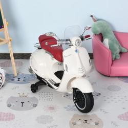 HOMCOM Motocicleta VESPA Elétrica acima de 3 Anos com Faróis Música 2 Rodas Auxiliares 108x49x75 cm Branco