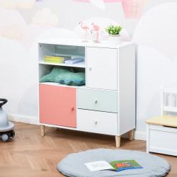 HOMCOM Móvel Infantil Cómoda para Crianças com 2 Compartimentos 2 Gavetas e 2 Armários para Armazenamento de Livros Brinquedos Roupa 80x30x85cm Coral Verde Menta Branco