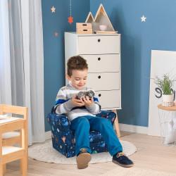 HOMCOM Poltrona infantil para crianças acima de 3 anos Banco acolchoado ergonômico azul