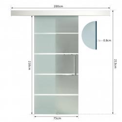 HOMCOM Porta de vidro deslizante Portas interiores Porta de celeiro Estilo celeire 75x210cm