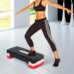 HOMCOM Step Fitness Plástico Preto Cinzento Vermelho 68 x 29 cm