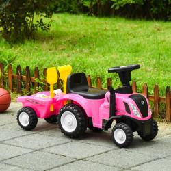 HOMCOM Trator para Crianças de 12-36 Meses com Reboque Removível Carro Andador com Buzina Farol Pá e Ancinho Carga 25kg 91x29x44cm Rosa