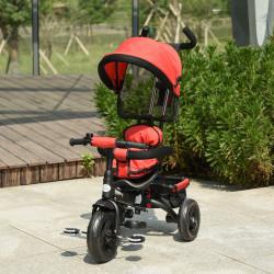 HOMCOM Triciclo para Crianças 2 em 1com capota ajustável acima de 18 Meses vermelho 92x51x110cm