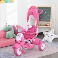 HOMCOM Triciclo para crianças acima de 3 anos, dobrável com luz e música 102x48x96 cm Rosa