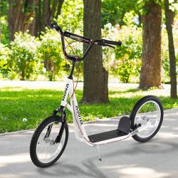HOMCOM trotinete para crianças acima de 5 anos de altura ajustável com pneus Freio Branco