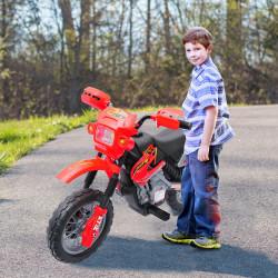 Mota Elétrica Infantil com Bateria com Rodinhas de Apoio - Cor: Vermelho - Material PP
