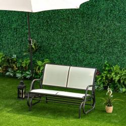 Outsunny Baloiço de 2 lugares Cadeira de balanço de jardim Tubo de metal e tecido de textilene para exteriores máx. 200 kg 120x70x85 cm Creme