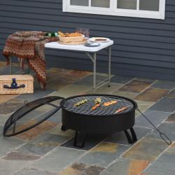 Outsunny Braseiro externo Ø76 cm 2 em 1 com grade de cozinha Grelha de churrasco Póquer de fogo com tampa de malha preto