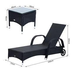 Outsunny Conjunto de 2 Espreguiçadeira + 1 Mesa Ratan para Jardim ou Terraço Cadeiras com Almofada e Encosto Ajustável a 5 Níveis - Preto