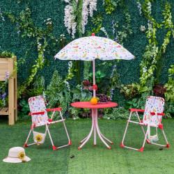 Outsunny Conjunto de mesa infantil Ø50x46 cm 2 cadeiras dobráveis 39x38x52 cm e guarda-sol ajustável Ø100x100-125 cm para crianças acima de 3 anos Vermelho