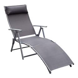 Outsunny Dobrável Espreguiçadeira Encosto Ajustável para 7 Níveis com Travesseiro Resistente ao Textilene Relaxar na Piscina Exterior Terraço Camping 137x63.5x100.5 cm Aço