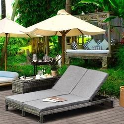 Outsunny Espreguiçadeira de jardim de 2 lugares Conjunto de espreguiçadeira de piscina 123x60x23 cm Cinza