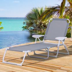 Outsunny Espreguiçadeira de jardim reclinável e dobrável com encosto ajustável em 4 posições Armação de metal textilene 160x66x80 cm cinza