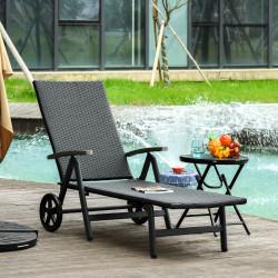 Outsunny Espreguiçadeira de vime para Jardim 192x74x55 cm com 7 Posições Encosto Reclinável Apoios de Braços e Rodas Estrutura de Alumínio para Pátio Terraço Varanda Preto